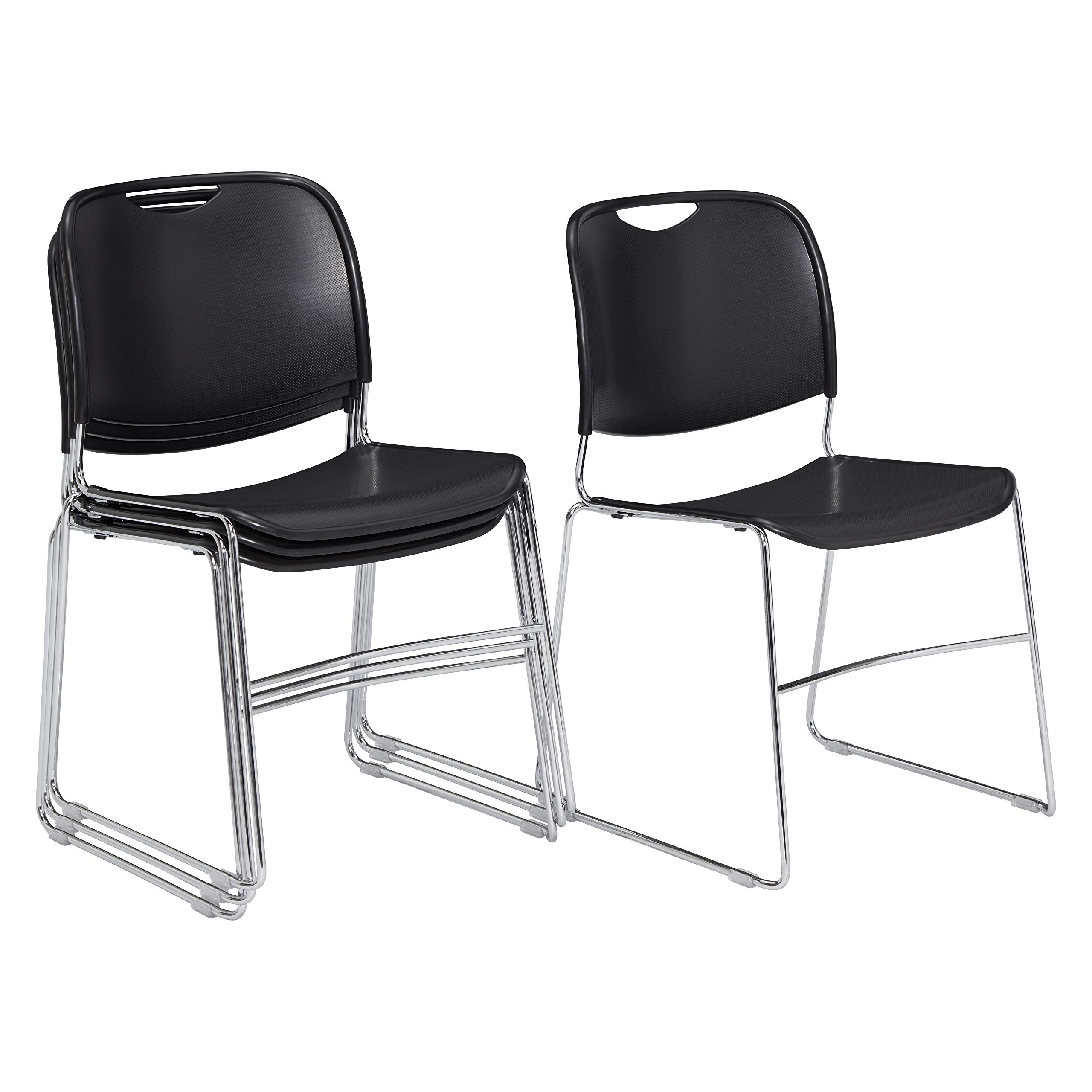 (4 Pack) National Public Seating 8500 Series Ultra-Compact Plastic Stack Chair, Black by National Public Seating