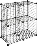 SEVVY - Metallic Wire Cube Storage Shelf Organiser, Book Shelf, Storage Cabinet, Kitchen Organiser - 1 Extra Steel Mesh Panel