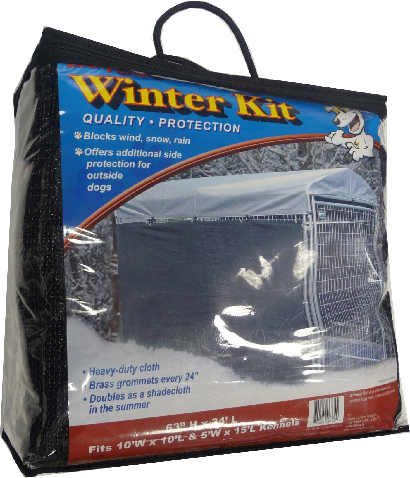 Lucky Dog Weatherguard Extra Large Shade Cloth/Winterization Kit with Grommets (57in. H x 34ft. L), Fits 10ft. X 10ft. Or 5ft. X 15ft. Outdoor Cages and Pens