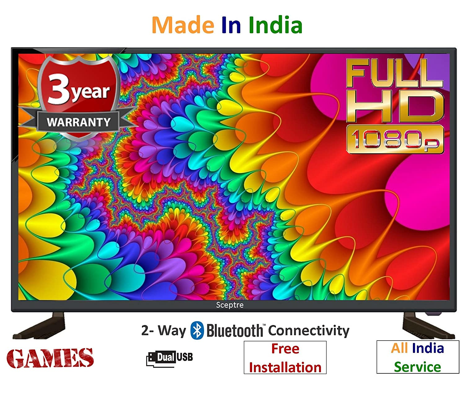 Sceptre 80 cm (32 Inches) Full HD, Bluetooth, Dual USB, Inbuilt Games, Wireless Bluetooth Speaker Connectivity ZX32FFFHD LED TV