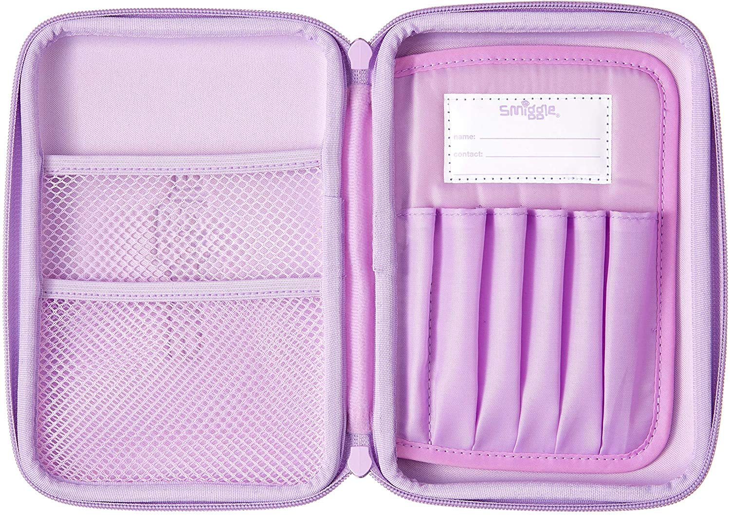 Smiggle Shimmy Kids Hardtop Pencil Case for Boys and Girls with Built-in Pen Pencil Slots   Purple