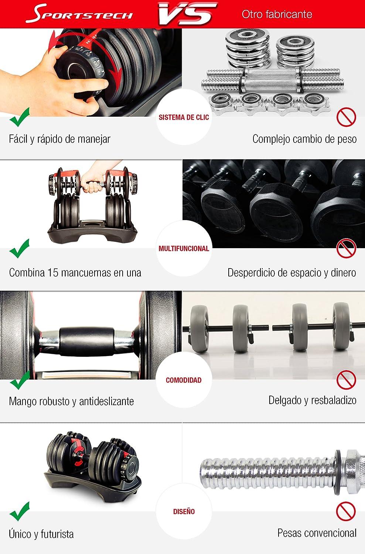 Mancuerna ajustable Sportstech 15en1-Mancuerna con un innovador sistema de clic para 2,5-24 kg,la AH200 con anillo de agarre de seguridad y mango ...