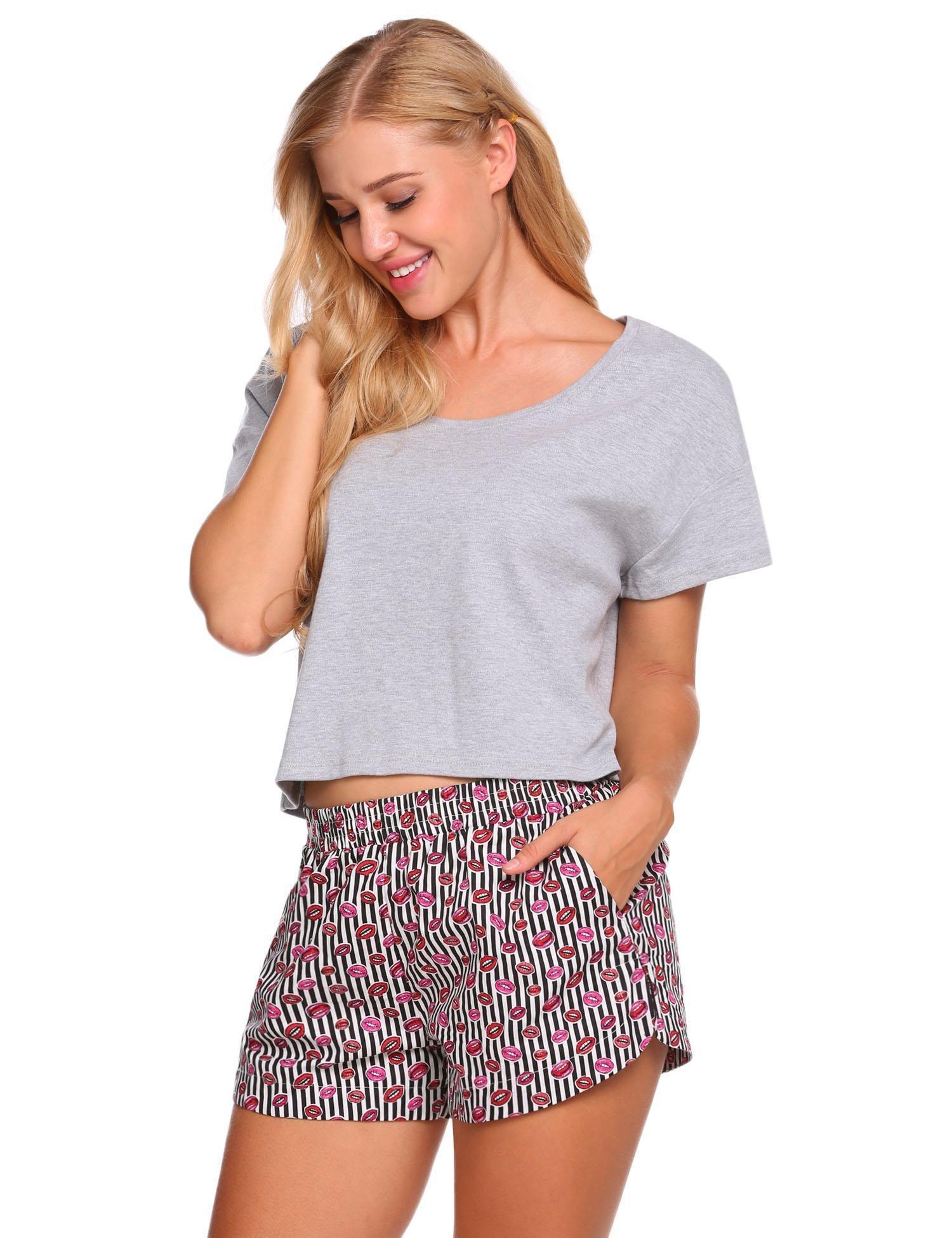 Ekouaer Womens 2 Piece Pajama Set Short Sleeve Crop Top and Print Pj Shorts (Gray and Striped, XL)