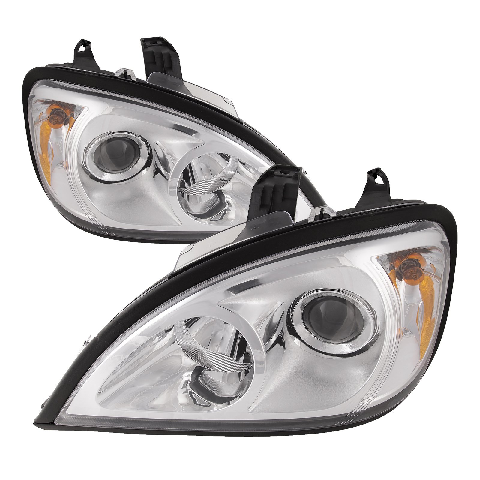 HEADLIGHTSDEPOT Compatible with Freightliner Columbia Chrome Headlights Projector Chrome Headlamps Pair Set