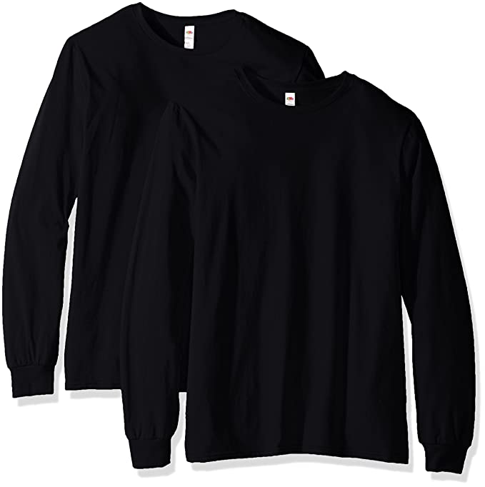 Fruit of the Loom Men's Long Sleeve T-Shirt (2 Pack), Black