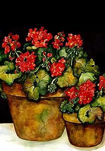 Toland Home Garden Potted Geraniums 12.5 x 18 Inch Decorative Spring Summer Red Flower Pot Garden Flag
