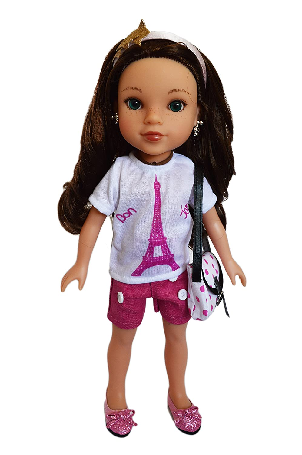 Brittanys My Paris Outfit with Purse and Shoes Compatible with Wellie Wisher Dolls Glitter Girl Dolls and Hearts to Hearts Dolls