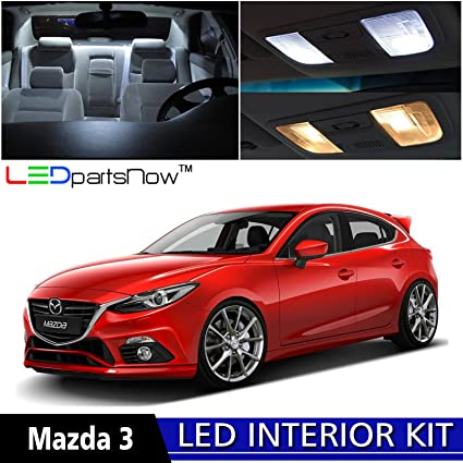 LEDpartsNow 2015 MAZDA 3 HATCHBACK LED Interior Lights Accessories  Replacement Package Kit (6 Pieces)