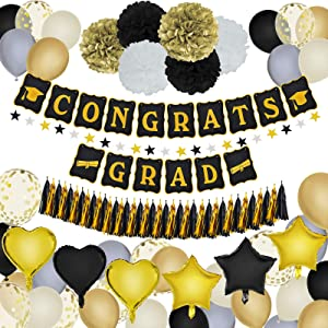 Graduation Decorations Party Supplies Congrats Grad Banner Black and Gold Balloons Paper Pompoms Paper Garland for High School College Graduation Party Decor