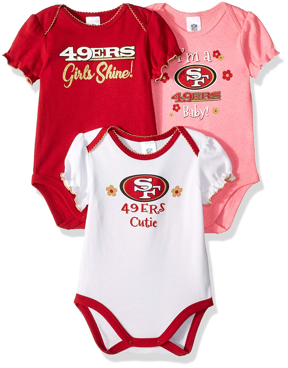 8a42ca410 Amazon.com   NFL San Francisco 49Ers Baby-Girls 3-Pack Short Sleeve  Bodysuits