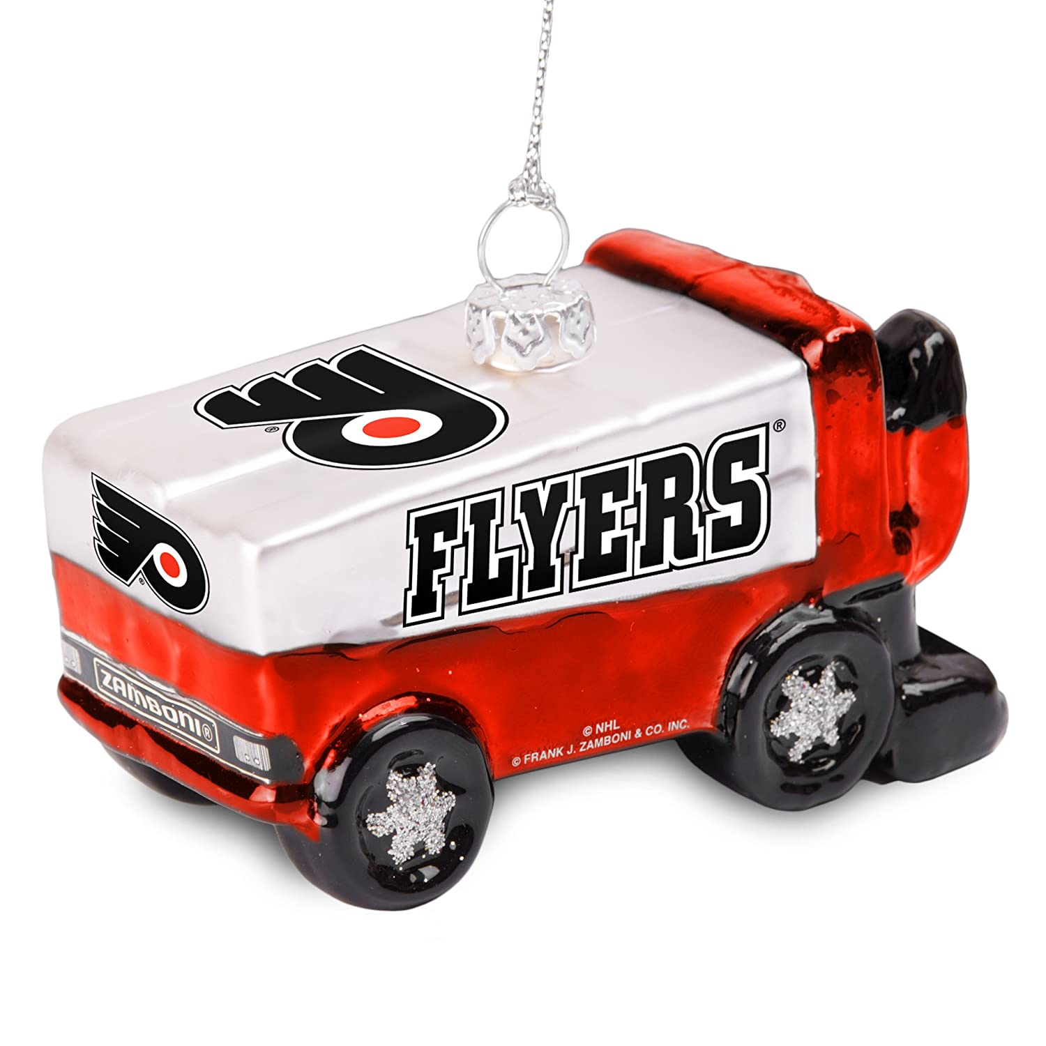White NHL Glitter Zamboni Ornament