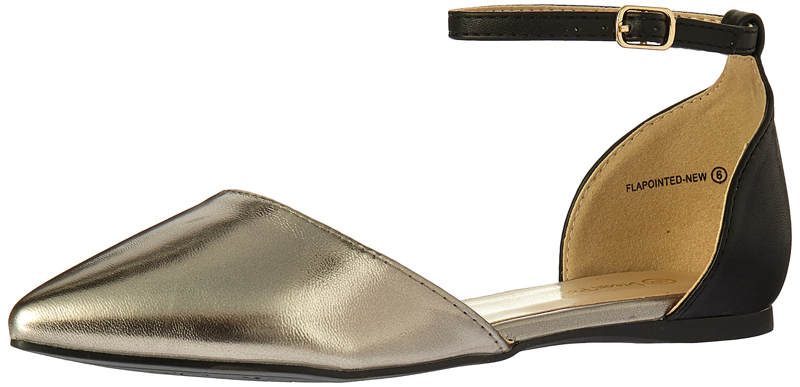 DREAM PAIRS Women's Flapointed-New Pump, Black Pewter, 5 M US