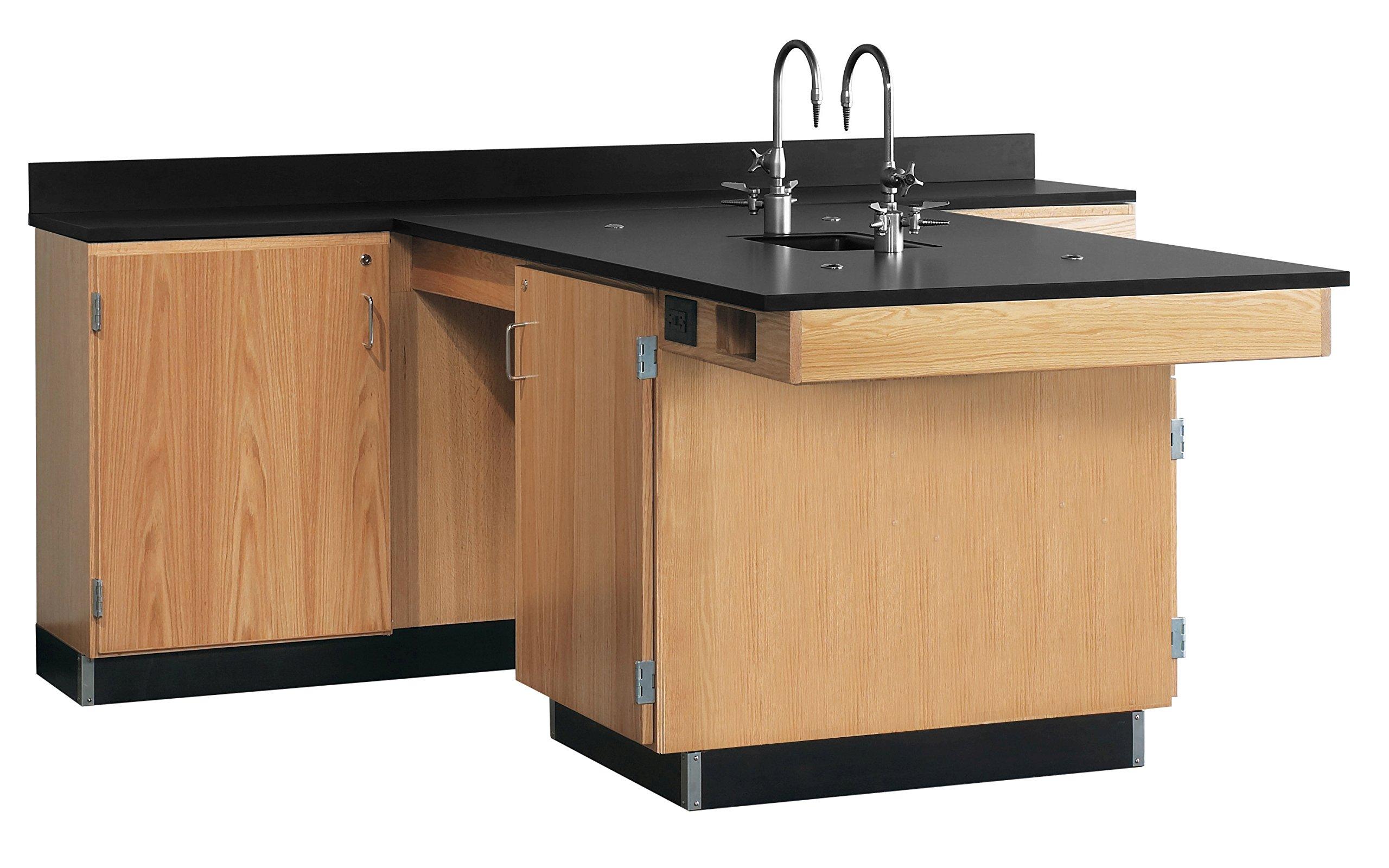 Diversified Woodcrafts 2816K Solid Oak Wood Perimeter Workstation with 1 Door, Epoxy Resin Top, 90'' Width x 36'' Height x 84'' Depth by Diversified Woodcrafts