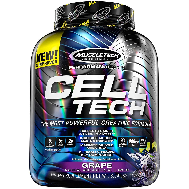 MuscleTech CellTech Creatine Powder, Micronized Creatine, Creatine HCl, Grape, 6 Pounds