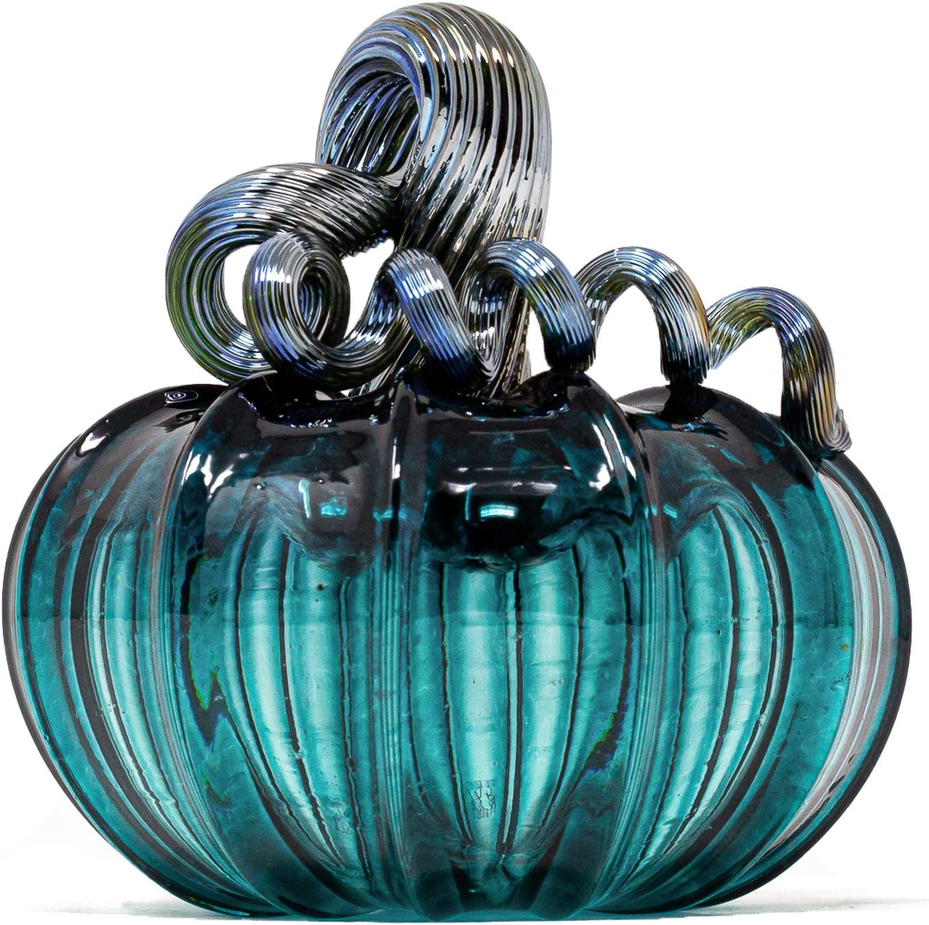"Luke Adams Glass   3.5"" Mini Glass Pumpkin   Handmade Table Top Home Décor   Outdoor Collectible Sculpture (Lagoon)"