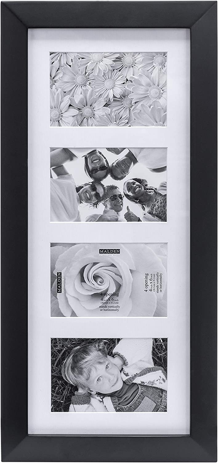 Amazon Com Malden 4x6 4opening Collage Matted Picture Frame Displays Four Black Picture Frame Sets