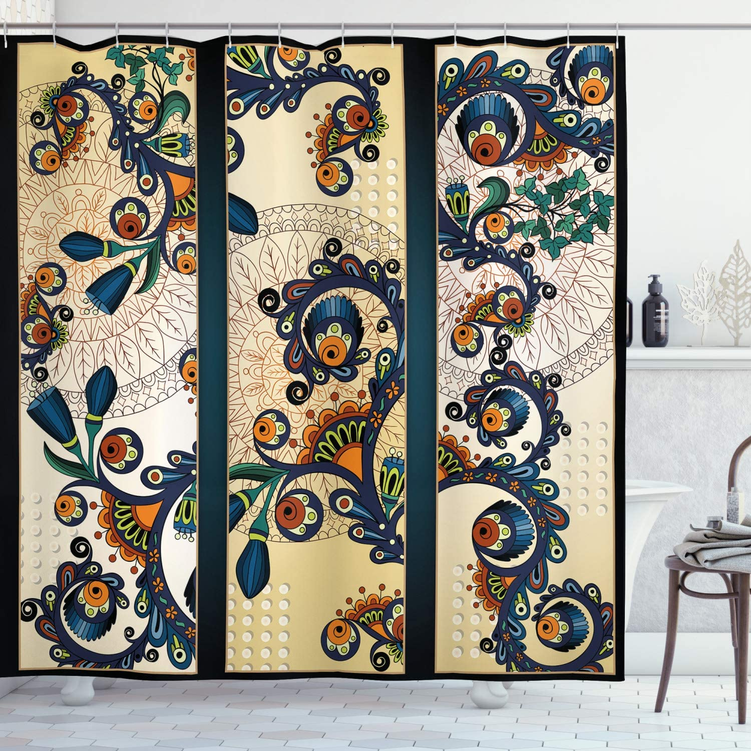 """Ambesonne Abstract Shower Curtain, Paisley Batik Floral Design Hand Drawn Ornament Artwork, Cloth Fabric Bathroom Decor Set with Hooks, 75"""" Long, Navy Blue"""