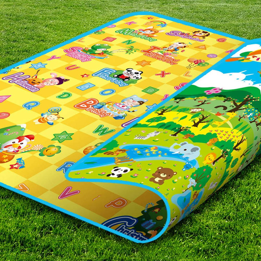 RuiHome Forest Animal Printed Reversible Baby Crawling Mat Toddler Educational Play Area Rug for Bedroom Playroom Nursery (79'' x 71'')