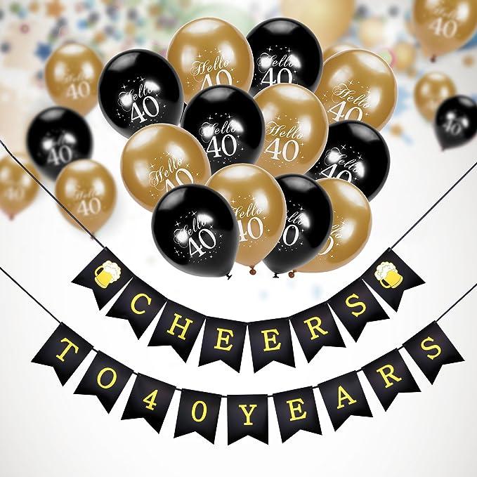Konsait cumpleaños pancartas de Banderines Cheers to 40 Years con 30 Dorados y Negro Globos De Látex Globos Perlados para Adultos 40 Años de ...