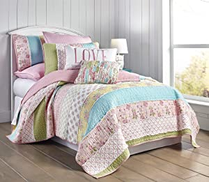 Levtex Vintage Garden Full/Queen Cotton Quilt Set, Patchwork