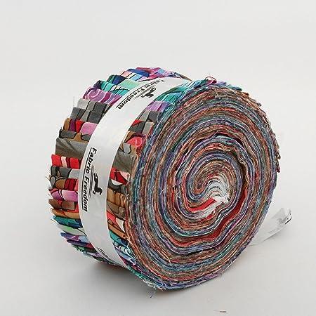 Quickfabrics - Rollo de telas para patchwork (40 tiras, 100% algodón, cada tira: 6,35 x 106 cm, fabricado en Reino Unido), multicolor: Amazon.es: Hogar