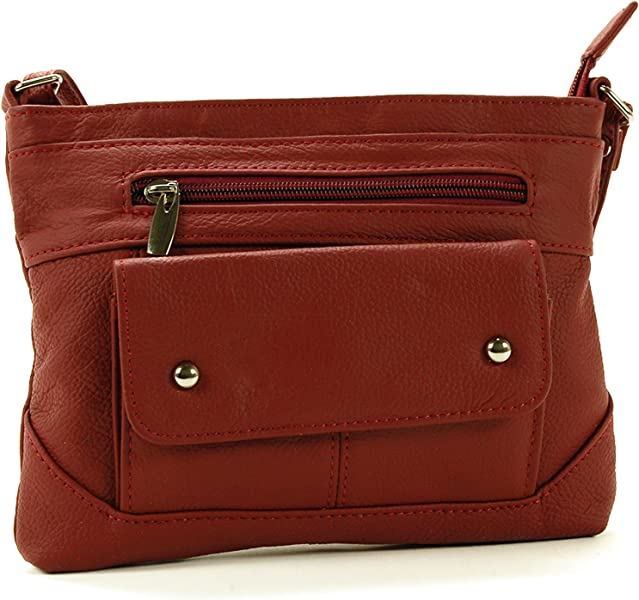 SBR Designs Women s Leather Cross Body Organizer Bag Red  Handbags   Amazon.com 9e159aa1f2ed1