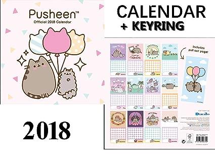 Pusheen oficial calendario 2018 + Pusheen llavero: Amazon.es ...
