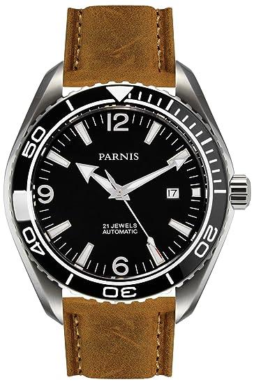 PARNIS 9028 – Reloj automático de acero inoxidable 5bar resistente al agua 45 mm de Hombre
