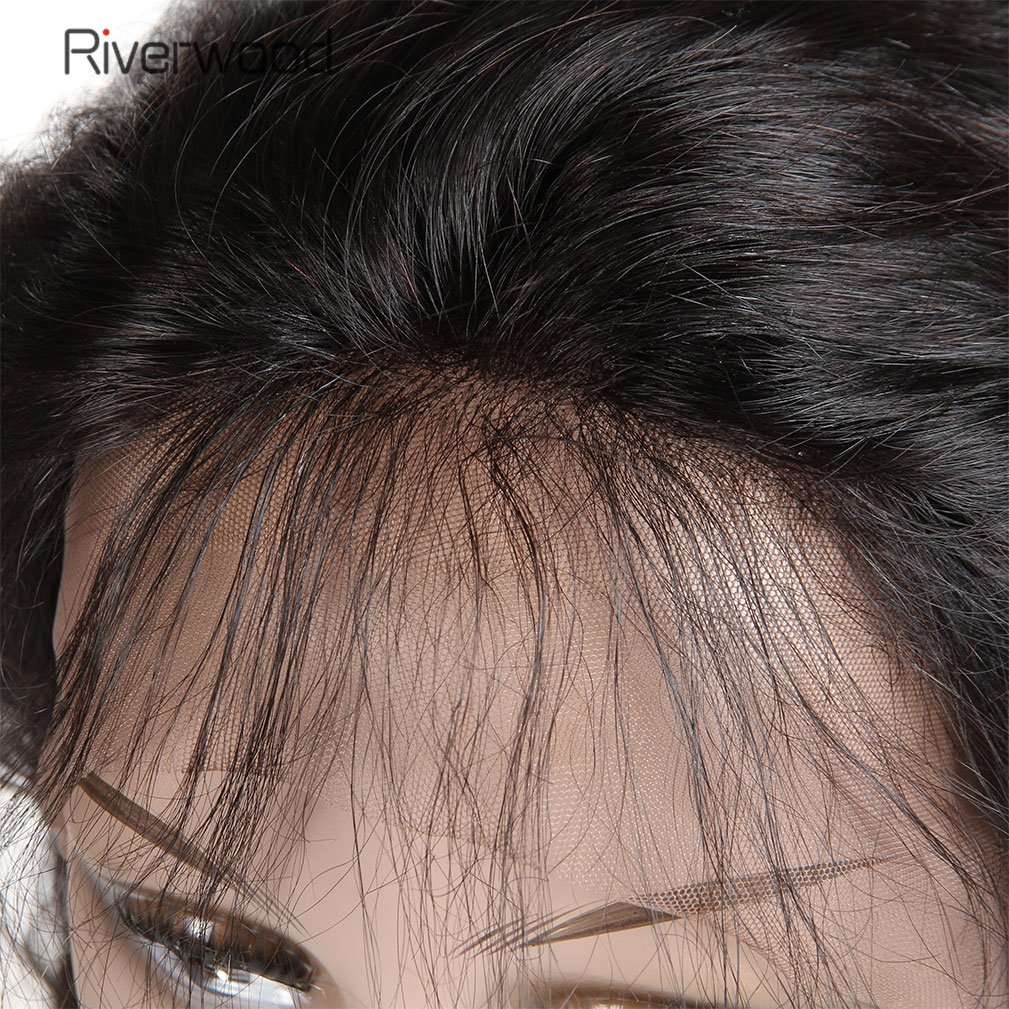 Malaysian Virgin Human Hair Lace Front Wigs 180% Density for Black Women Long Straight Pre Plucked Glueless Human Hair Wigs With Baby Hair Bleached knots Natural Black color 18inch by Riverwood (Image #3)