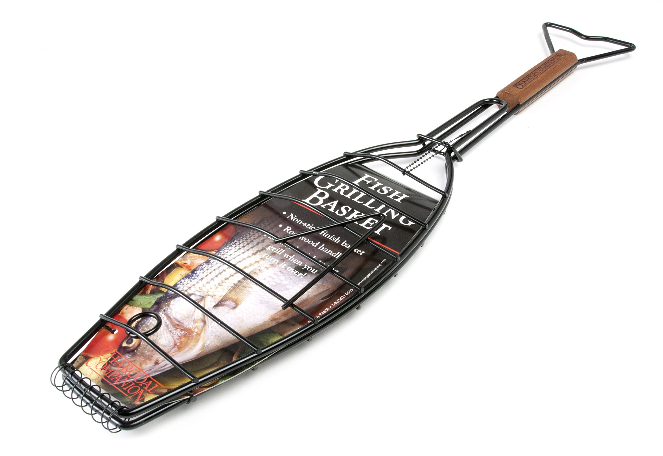 Charcoal Companion Non-Stick Fishtail Grilling Basket with Rosewood Handle