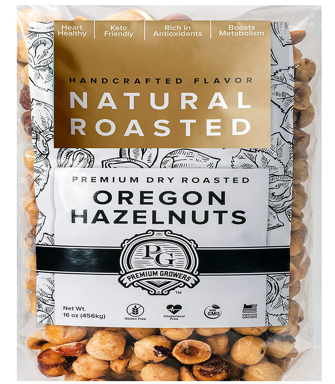 Oregon Farm To Table Hazelnuts from Premium Growers - Dry Roasted - Natural Roasted – 1 LB bag