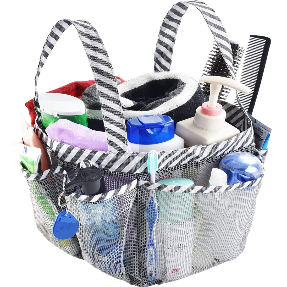 Haundry Mesh Shower Caddy Tote, Large College Dorm Bathroom Caddy Organizer with Key Hook and 2 Oxford Handles, Quick Hold, 8 Basket Pockets for Camp Gym Smart Storage X01