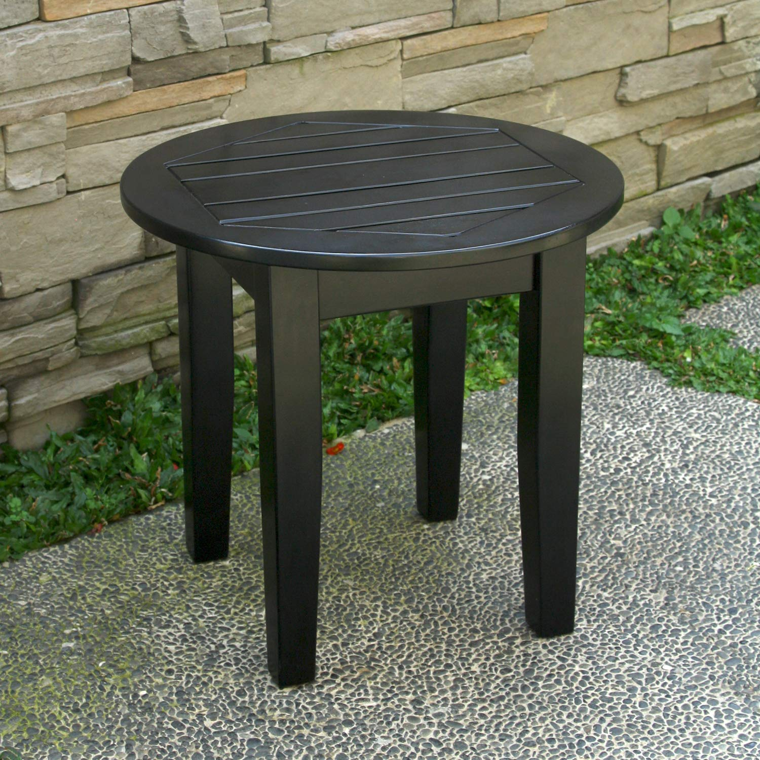 Cambridge-Casual AMZ-180590B Bentley, Round Side Table, Black