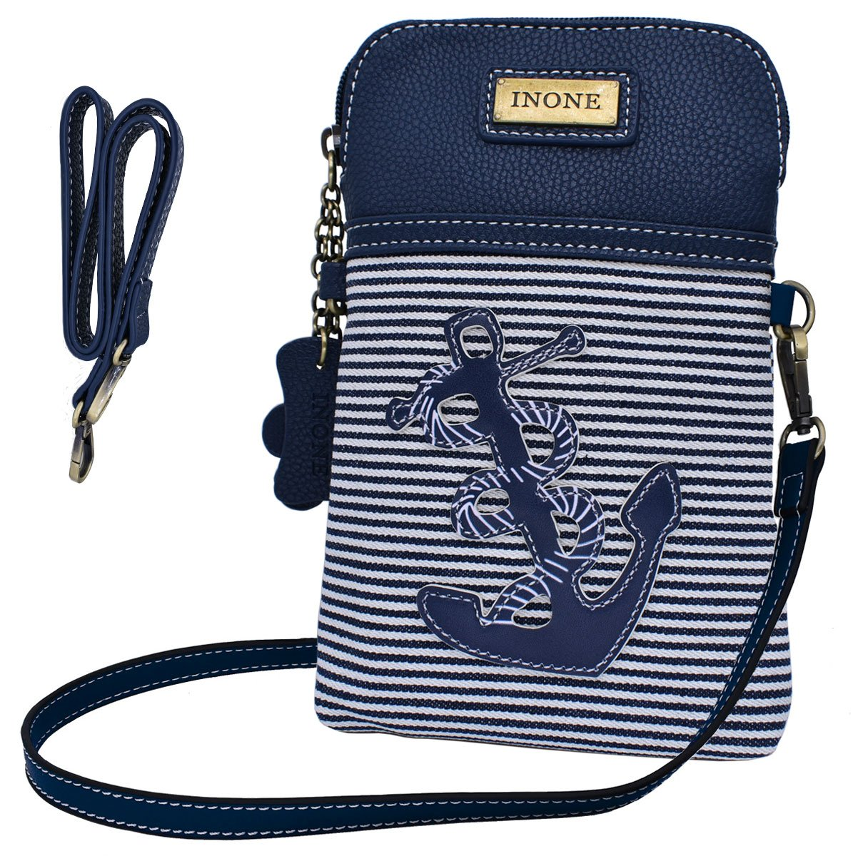 Anchor Crossbody Bag Nautical iPhone Cell Phone Purse Bag PU Leather Canvas Handbag for Smartphone Credit Card Passport Keys by inOne (Image #4)