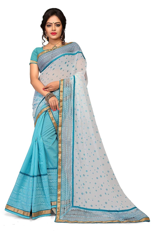 S Kiran's Women's Assamese Art Cotton Mekhela Printed Siphon Chador Saree (Blue, Free Size)