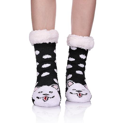 CHOWISH Womens Fuzzy Socks Winter Warm Soft Cozy Fleece Lining Non Slip  Slippers Socks (Dog e8add3ad1