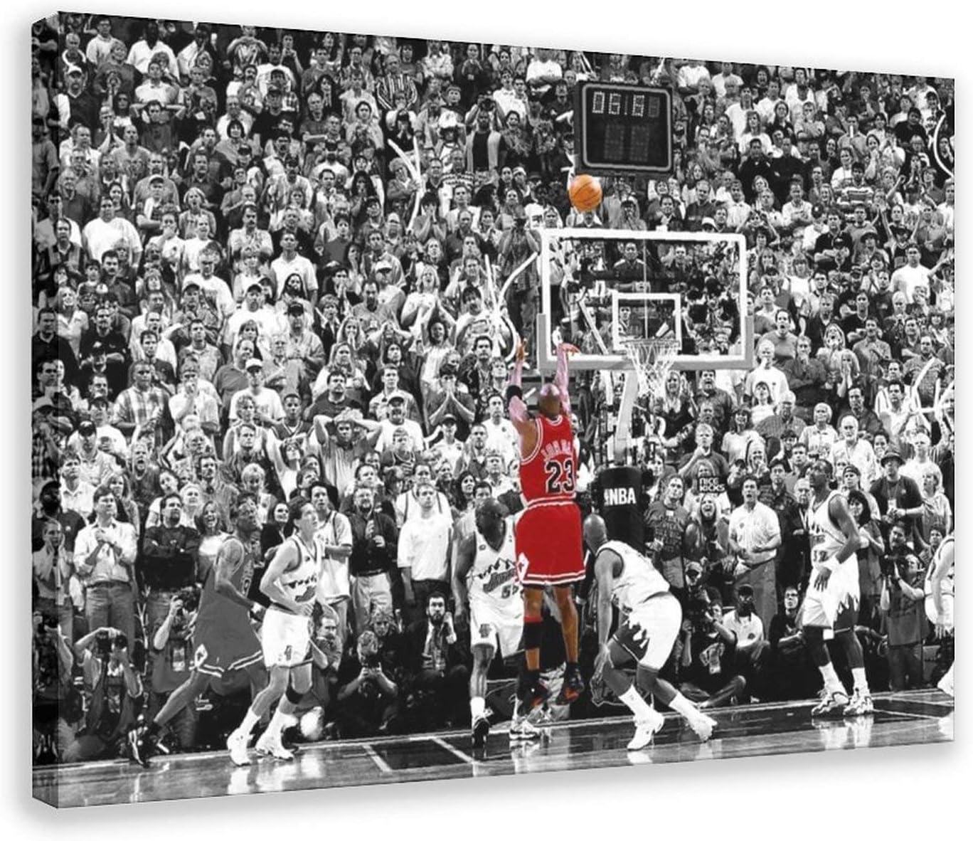 Michael Jordan Last Shot Canvas Poster Bedroom Decor Sports Landscape Office Room Decor Gift 24×36inch(60×90cm) Frame-style1