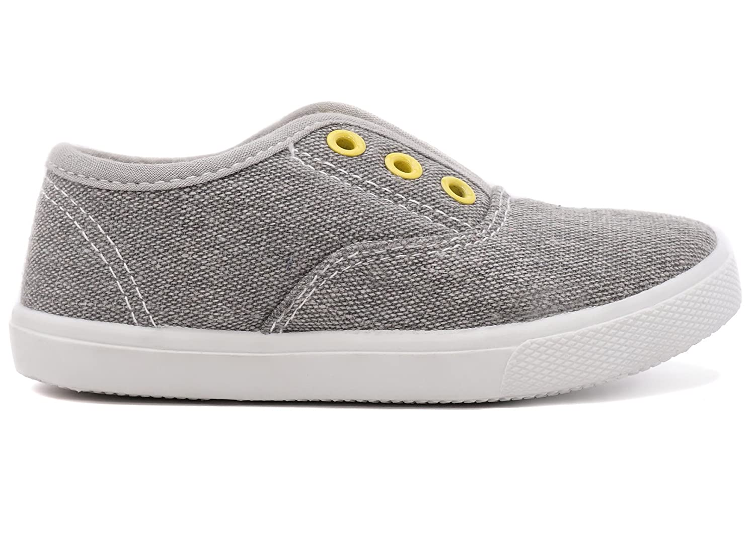 Charles Albert Slip-On Laceless Fashion Sneakers Sizes for Girls and Boys Little Kid//Big Kid Canvas Upper /& Rubber Sole