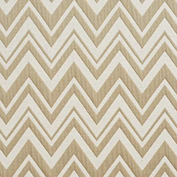 Amazon.com: Beige y blanco patrón de Chevron tela de brocado ...