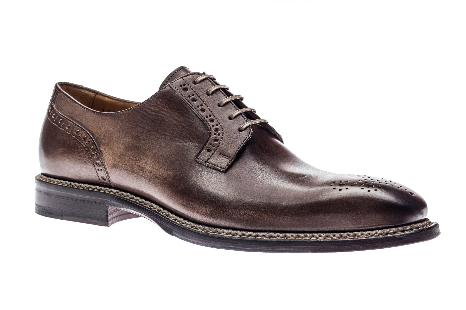 Jose Real Shoes Nordve Collection | Cafe | Mens Oxford Brown Genuine Real Italian Leather Dress Shoe | Size EU 41