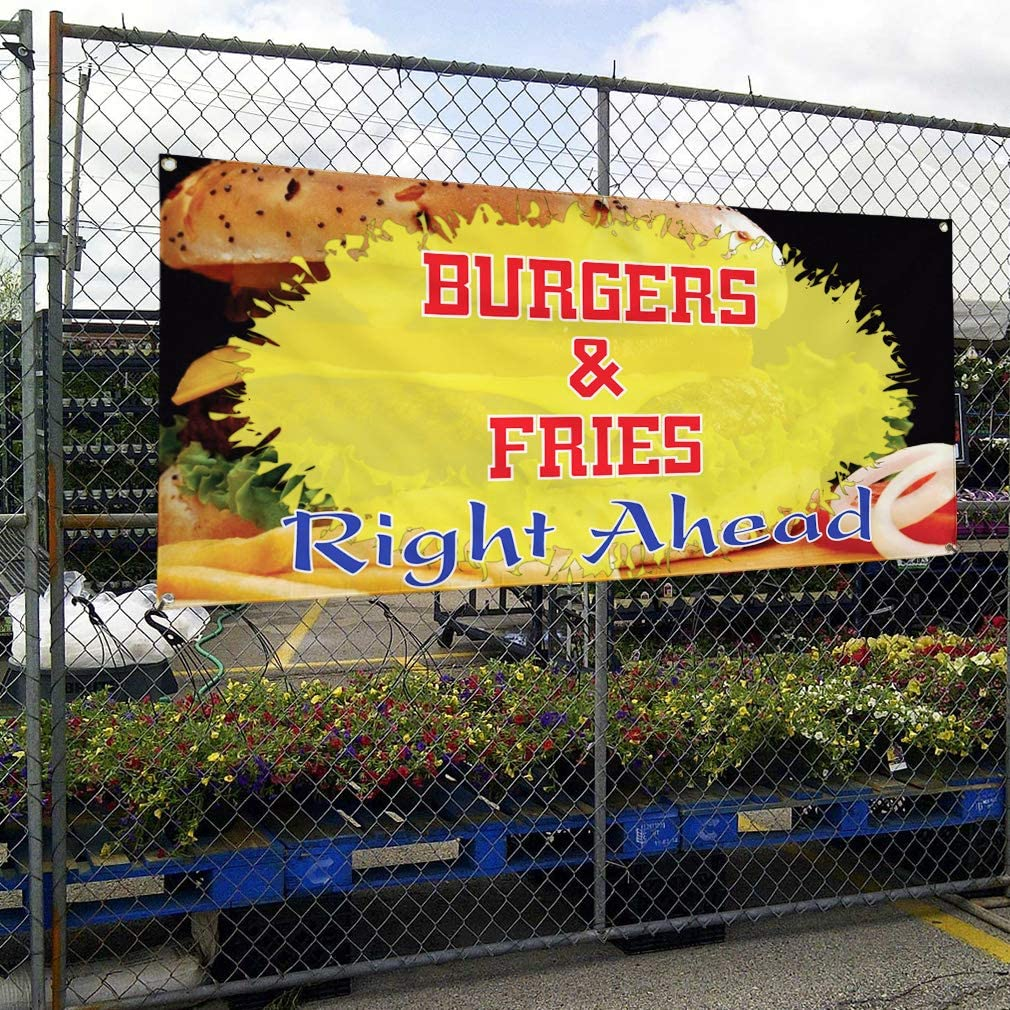 Set of 3 4 Grommets Vinyl Banner Sign Burgers /& Fries Right Ahead #4 Hamburger Marketing Advertising Yellow 24inx60in Multiple Sizes Available