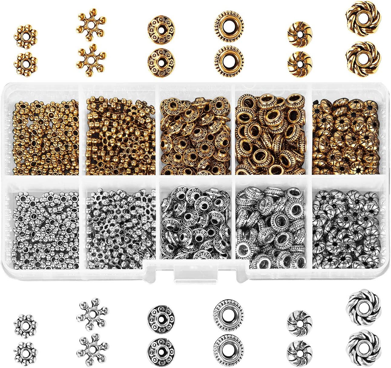 SILVER or BRONZE NEW 100 DESIGNS TIBETAN SPACER BEADS KIT JEWELRY MAKING /& BOX