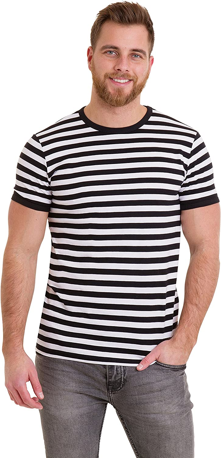 Run /& Fly Black and White Striped Short Sleeve T-Shirt 60s Retro