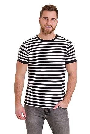 372202538bdcf Run   Fly Mens 60 s Retro Black   White Striped Short Sleeve T Shirt ...
