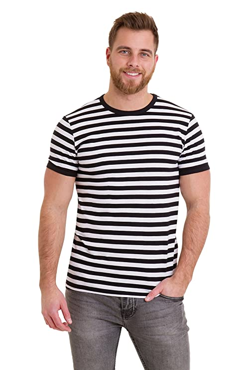 1920s Style Men's Shirts | Peaky Blinders Shirts and Collars Run & Fly Mens 60s Retro Black & White Striped Short Sleeve T Shirt $19.95 AT vintagedancer.com