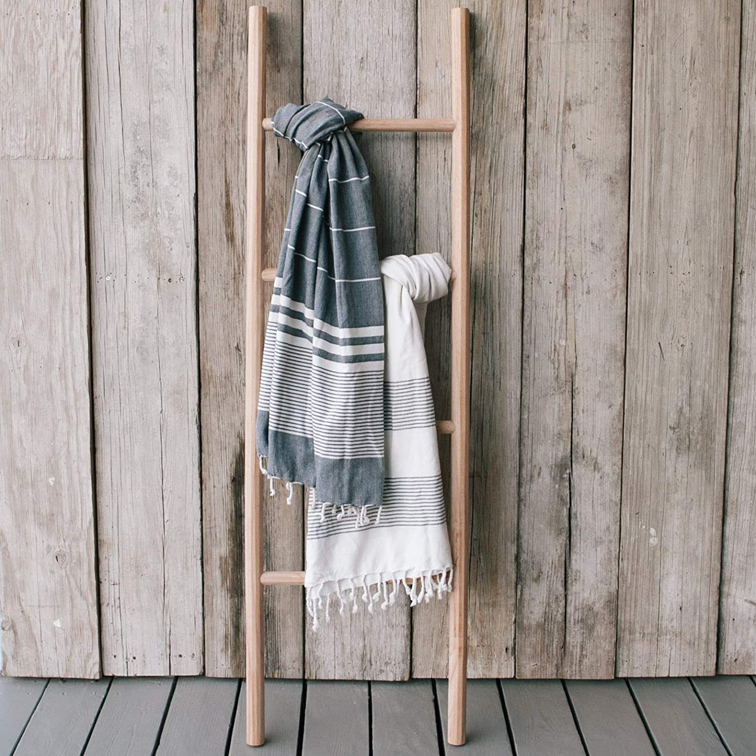 Sandstone & Sage Blanket-Ladder | Hand Made Natural 5ft Wooden Ladder Shelf | Farmhouse Decor to Use for Quilt Rack | Crafted from Sustainable Wood