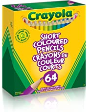 Crayola 64 Short Coloured Pencils with Built-in Sharpener, Pencil Crayons, Adult Colouring, Bullet Journaling, School and Craft Supplies, Drawing Gift for Boys and Girls, Kids, Teens Ages 5, 6,7, 8 and Up, Holiday Gifting, Stocking , Arts and Crafts,  Gifting