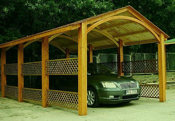 Liveoutside - Cochera con vigas de madera Alaska. Cubierta Asphalt con alicatado de fieltro. Dimensiones: 375 cm x 605 cm por 286 cm de altura.: Amazon.es: Coche y moto