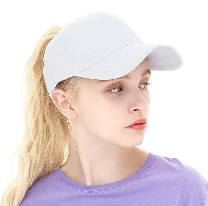 ea901bcab ELLEWIN Ponytail Messy High Bun Hat Ponycaps Adjustable Cotton and Trucker Baseball  Cap Black at Amazon Women's Clothing store:
