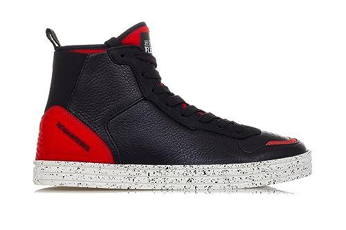 Hogan Scarpe Uomo  R141  Hi-Top Leather And Textile Sneakers-43 Uomo ... 71c2f23077a